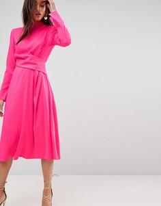 Платье миди с вырезом ASOS - Розовый