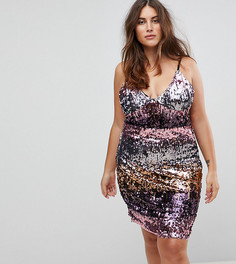 Платье на бретелях с пайетками Club L Plus - Розовый
