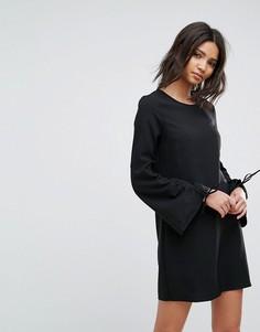 Платье А-силуэта со сборками на рукавах Vero Moda - Черный