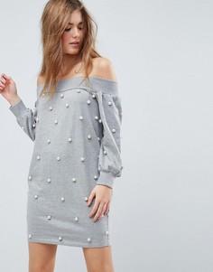 Трикотажное платье мини с открытыми плечами и жемчужной отделкой ASOS - Серый