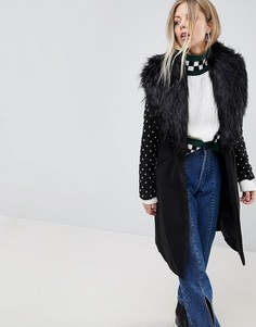 Пальто с меховым воротником и заклепками на рукавах Parisian - Черный