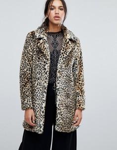 Пальто из искусственного меха с леопардовым принтом Parisian - Коричневый
