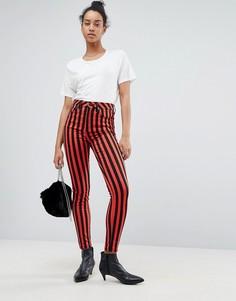 Премиум-джинсы в полоску с завышенной талией ASOS SCULPT ME - Мульти