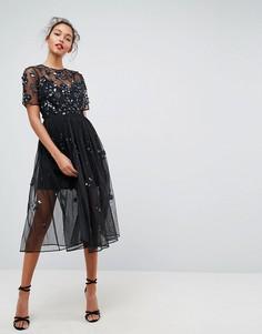 Свободное платье миди с декоративной отделкой ASOS - Черный