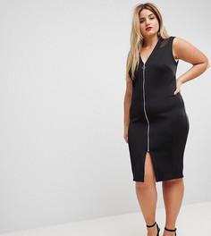 Облегающее платье миди на молнии с сетчатой вставкой ASOS CURVE - Черный