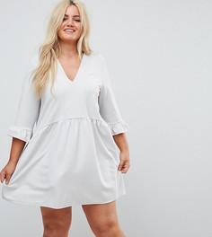 Свободное платье с V-образным вырезом и манжетами-оборками ASOS CURVE - Серый