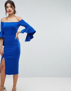Платье-футляр с открытыми плечами True Violet - Синий