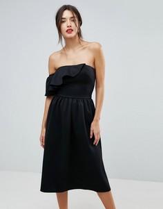 Структурированное платье-бандо с оборкой True Violet - Черный