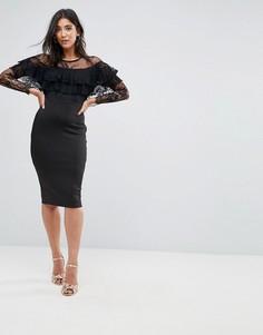 Платье миди с длинными рукавами и кружевной отделкой AX Paris - Черный