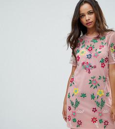 Сетчатое платье-футболка с цветочной вышивкой ASOS PETITE PREMIUM - Розовый
