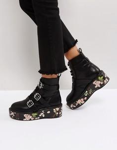 Ботинки на толстой подошве с цветочным принтом ASOS REID - Черный