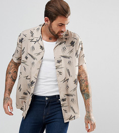 Светло-серая обтягивающая рубашка с принтом в стиле ретро Illusive London - Светло-бежевый