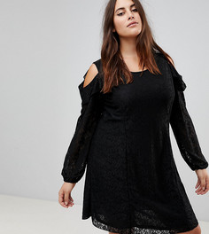 Кружевное платье А-силуэта с открытыми плечами и оборками Koko - Черный