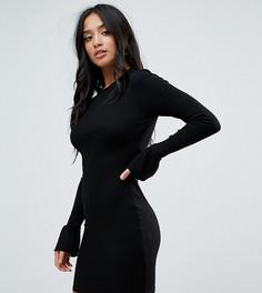 Облегающее платье мини в рубчик с оборками на манжетах ASOS PETITE - Черный