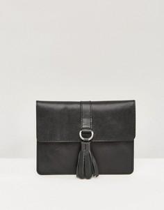 Кожаный кошелек с кисточкой ASOS - Черный
