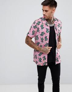 Рубашка в новогоднем стиле с короткими рукавами LDN DNM - Розовый