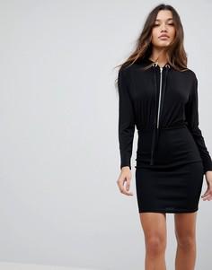 Облегающее платье мини с капюшоном отделкой в рубчик ASOS - Черный
