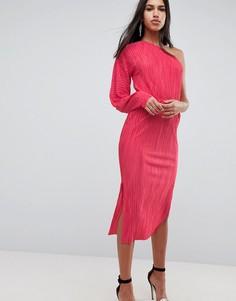 Плиссированное платье миди на одно плечо ASOS - Розовый