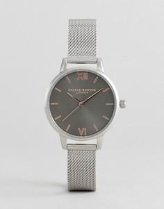 Серебристые часы с сетчатым браслетом Olivia Burton OB16MD80 - Серебряный