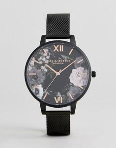 Черные часы с сетчатым ремешком Olivia Burton OB16AD21 - Черный