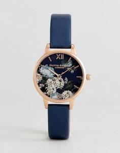 Часы с темно-синим кожаным ремешком и цветочным рисунком Olivia Burton OB16WG13 Signature - Темно-синий