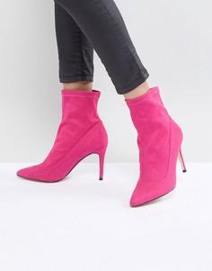 Розовые замшевые ботинки с бантами Faith - Розовый