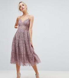 Кружевное платье миди для выпускного ASOS PETITE - Фиолетовый