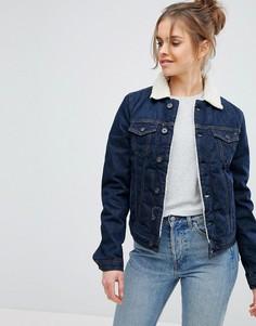 Джинсовая куртка с воротником из искусственного меха Pepe Jeans - Синий