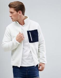 Куртка из искусственного меха на молнии с карманом D-Struct - Белый