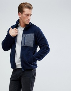 Куртка из искусственного меха на молнии с карманом D-Struct - Темно-синий
