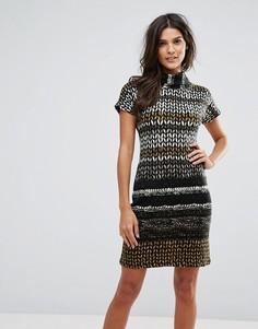 Платье с высоким воротом и принтом Jasmine - Коричневый