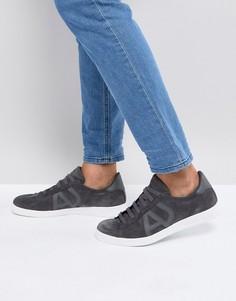 Серые замшевые кроссовки с логотипом Armani Jeans - Серый