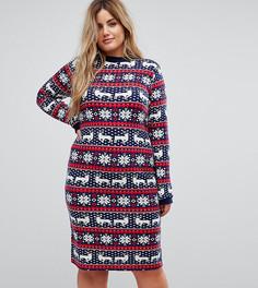 Новогоднее платье-джемпер с узором Фэйр-Айл Club L Plus - Мульти
