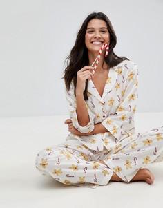Пижамный комплект из 100% модала с принтом ASOS - Мульти