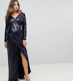 Платье макси с пайетками и запахом TFNC Maternity - Темно-синий