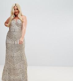 Платье макси бандо с пайетками TFNC Plus - Золотой