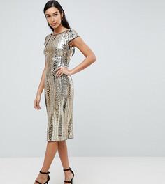 Платье миди с пайетками TFNC Tall - Золотой