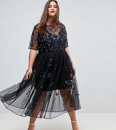Свободное платье миди с отделкой ASOS CURVE - Черный