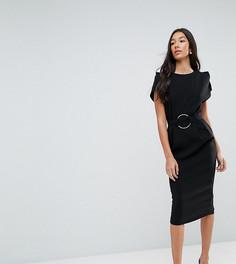 Платье миди с разрезами на рукавах и кольцом на поясе ASOS TALL - Черный