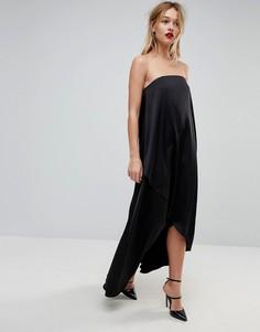 Атласное платье-бандо миди с запахом ASOS - Черный