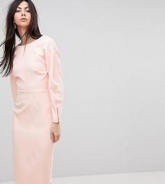 Платье-футляр миди в стиле 80-х с пышными рукавами ASOS TALL - Розовый
