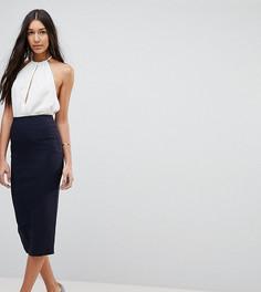 Удлиненная юбка-карандаш с завышенной талией ASOS TALL - Темно-синий