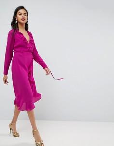 Платье миди с запахом и оборками ASOS - Розовый