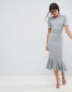 Платье миди с оборкой по краю ASOS - Серый