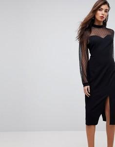 Платье миди с длинными рукавами и вырезом в форме сердца ASOS - Черный