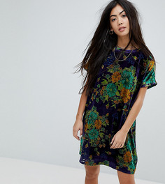 Бархатное платье-футболка оверсайз с цветочным принтом Glamorous Petite - Синий
