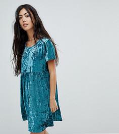 Свободное платье из мятого бархата Glamorous Petite - Зеленый