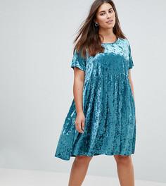 Свободное платье из мятого бархата Glamorous Curve - Зеленый