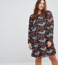 Свободное платье с длинными рукавами и цветочным принтом Glamorous Curve - Черный
