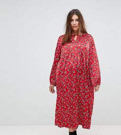 Свободное платье с цветочным принтом в винтажном стиле Glamorous Curve - Красный